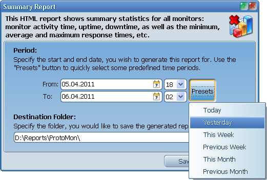 Summary report dialog